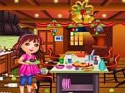 Dora Limpieza de la Cocina para Navidad