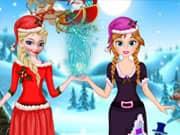 Elsa and Anna Frozen Helping Santa