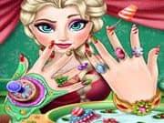 Elsa Frozen Manicure de Navidad