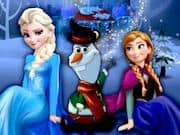Elsa y Anna Construyendo a Olaf