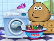 Juego Pou Washing Clothes